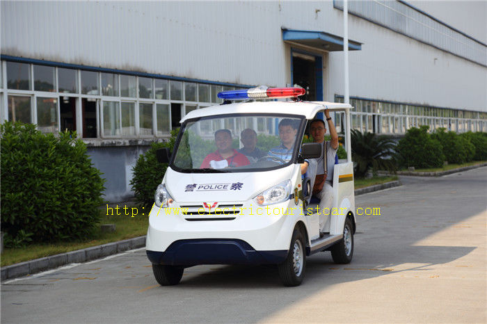 Multi Color 4 Passenger Electric Patrol Car For Security Cruise With Caution Light